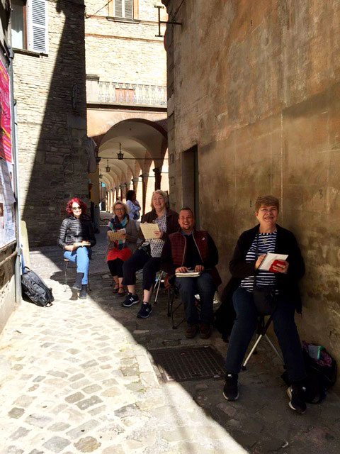 In Mercatello sul Metauro sketching in the streets.